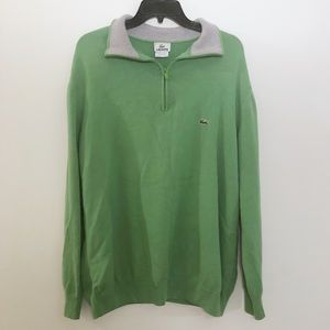 Lacoste Logo Knit Green Quarter Zip